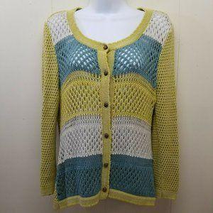 Nick Mo M Cardigan Blue Green Stripe Anthro Knit
